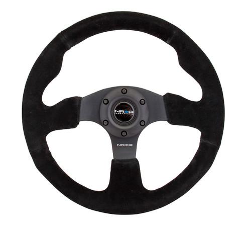 NRG 320mm Sport Suede All Black Steering Wheel Race