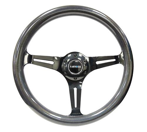 NRG Classic Chameleon Wood Grain Wheel 350mm Black Chrome 3 spoke center