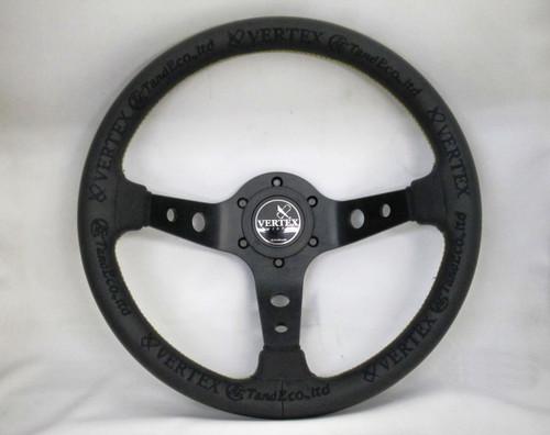 Vertex KING 330mm Black Leather Gold Stitch Steering Wheel