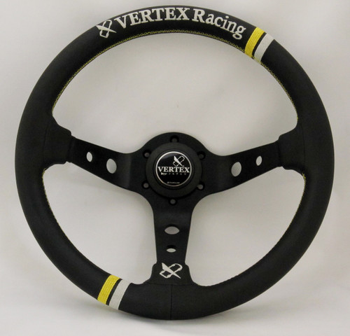 Vertex RACING 330mm Black Leather with Gold Stitch Steering Wheel