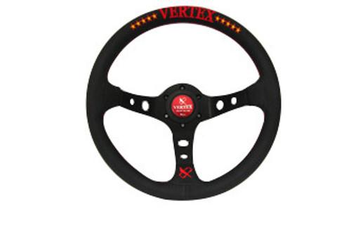 Vertex 10 STAR 330mm Black Leather Red Stitch Steering Wheel
