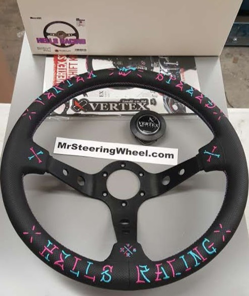 Vertex SPEED 350mm Black Leather Blue and Pink Stitch Steering Wheel