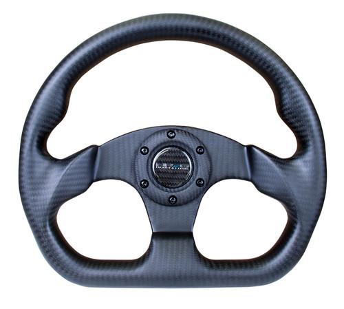 NRG 320mm Flat Bottom Matte Full Carbon Fiber Steering Wheel