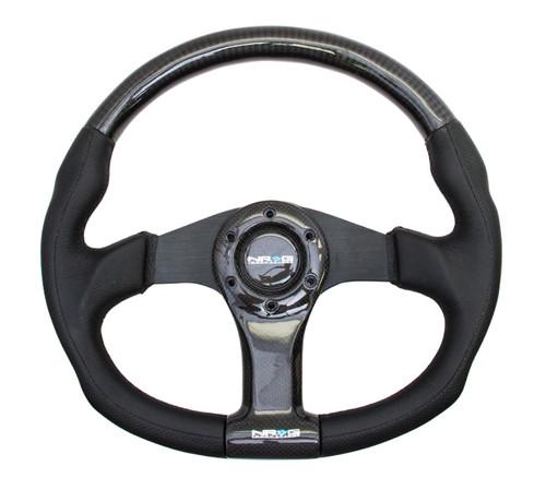 NRG 350mm Flat Bottom Carbon Fiber Spoke with Black Leather Steering Wheel