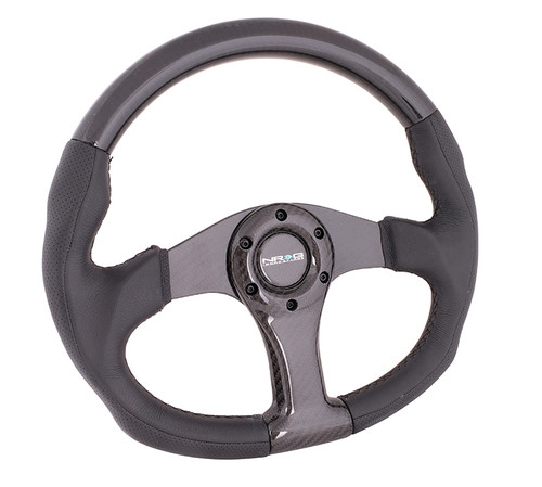 NRG 350mm Flat Bottom Oval Carbon Fiber Spoke Black Leather Steering Wheel