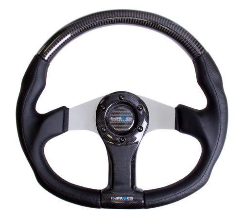 NRG 350mm Flat Bottom Oval Carbon Fiber Silver Spoke Black Leather Steering Wheel