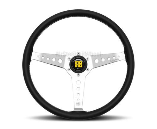 MOMO Prototipo Heritage California 360mm Black Leather Polished Spoke Steering Wheel