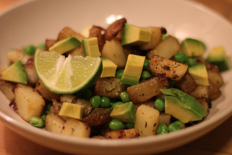 Potato Stir Fry with Avocado, Lime and Peas