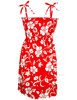 Smock Top Hawaiian Dress Classic Hibiscus 100% Cotton Fabric Smock Tube Top Design Tie On Shoulder or Halter Style Wear Strapless Option Color: Red Sizes: S - XL Made in Hawaii - USA
