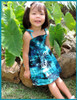 Girl's Smock Dress Island Sunrise 100% Cotton Fabric Tie On Shoulder Tie Halter Style Color: Turquoise Sizes: 2 - 14 Made in Hawaii - USA