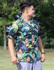 Resort Black Shirt With Parrots Paradise Print 100% Cotton Coconut shell buttons Matching left pocket Color: Black Sizes: S - 4XL Made in Hawaii - USA