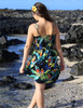 Resort Smock Short Dress Parrots Paradise 100% Cotton Fabric Smock Tube Top Design Tie On Shoulder or Halter Style Wear Strapless Option Color: Black Sizes: S - XL Made in Hawaii - USA