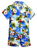 Hookipa Hibiscus Toddler Clothes Set for Boys 100% Cotton Fabric Matching Shorts and Shirt Set Coconut Shell Buttons Color: Blue Sizes: 1T, 2T, 4T, 6T Made in Hawaii - USA