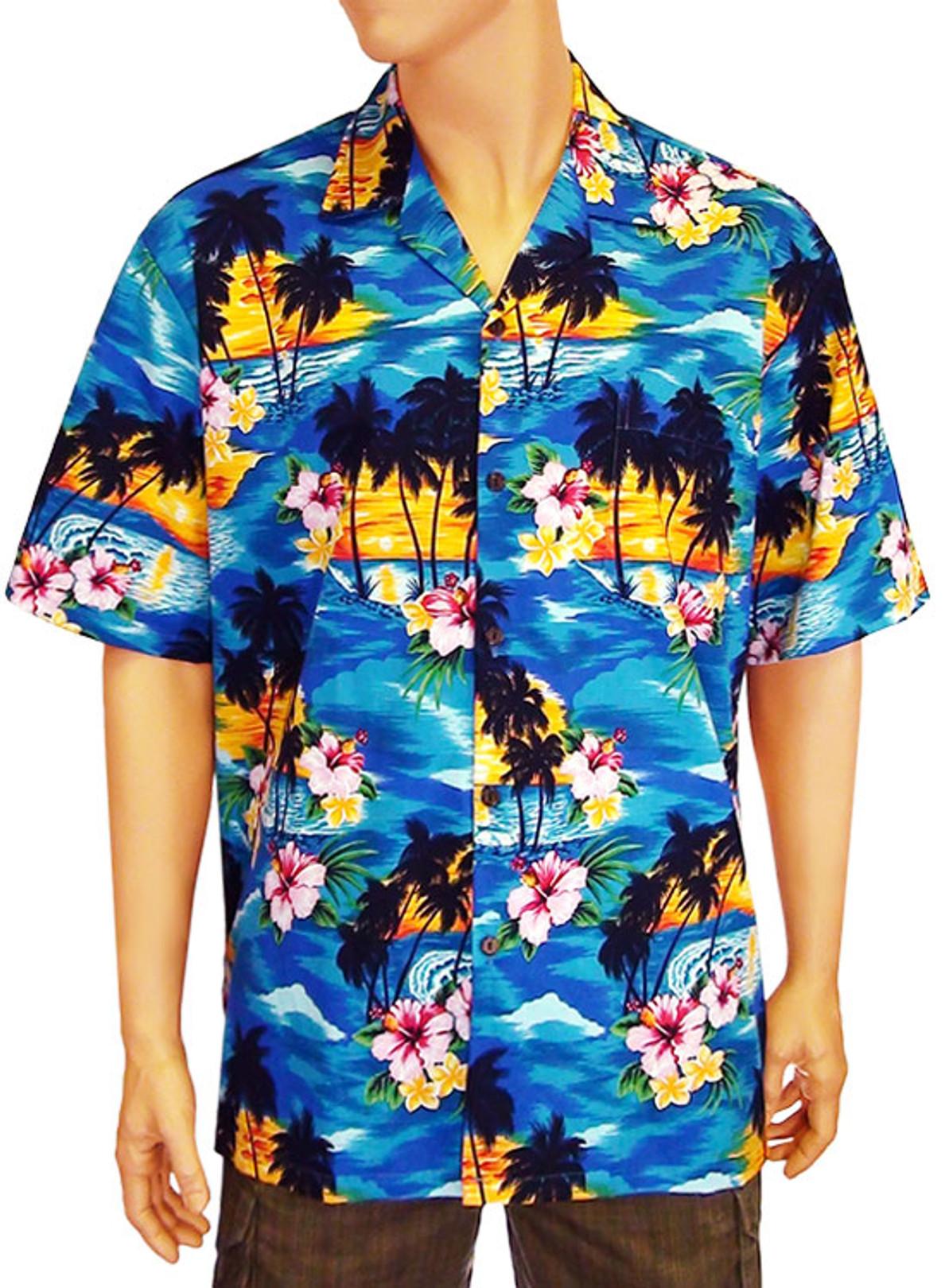 45441672 Men Hawaii Island Sunset Shirt 100% Cotton Fabric Coconut Shell Buttons  Matching Left Pocket Colors