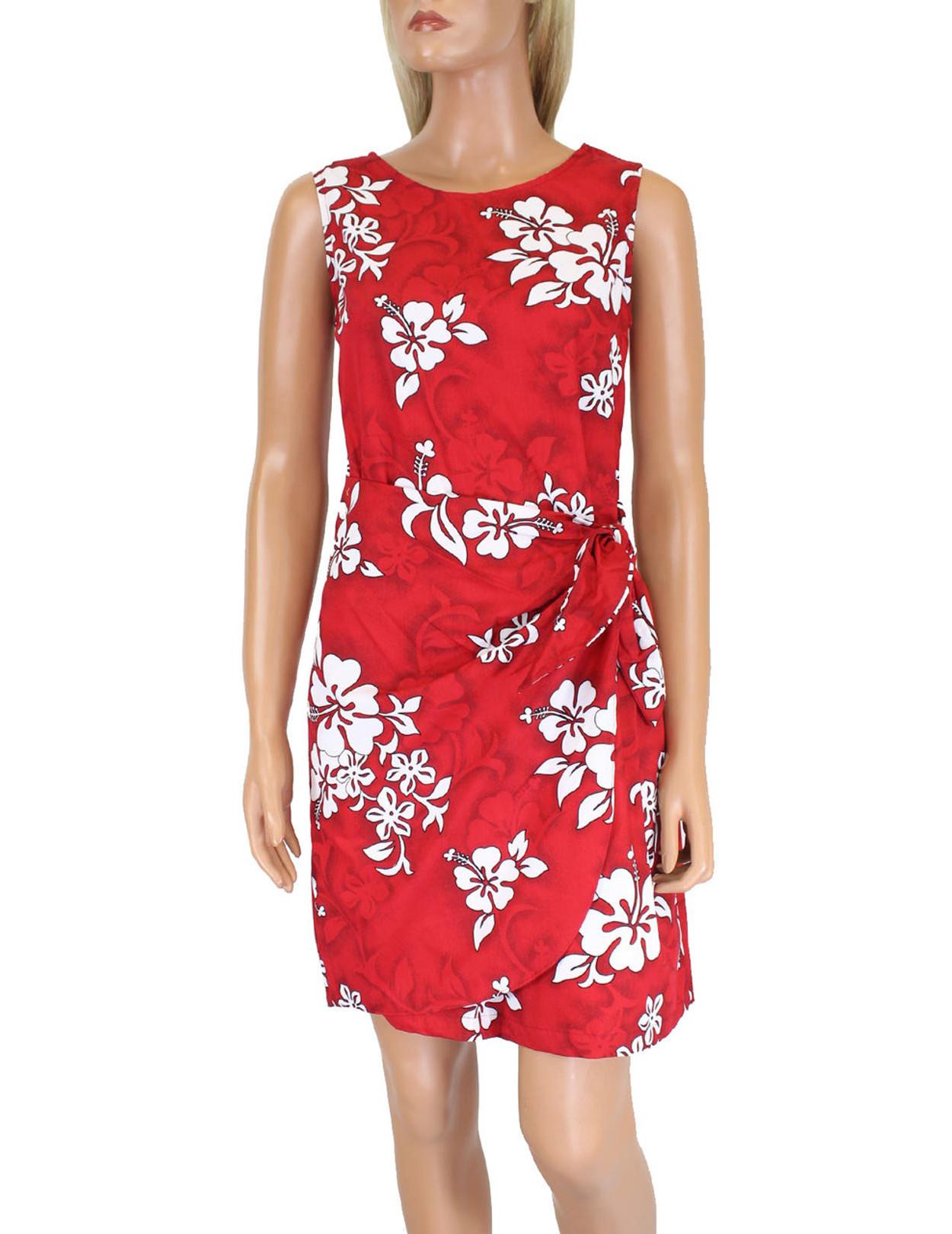 fcb5714ca24 Short Hawaiian Dress Sarong Tropical Hibiscus 100% Cotton Fabric Colors   Blue