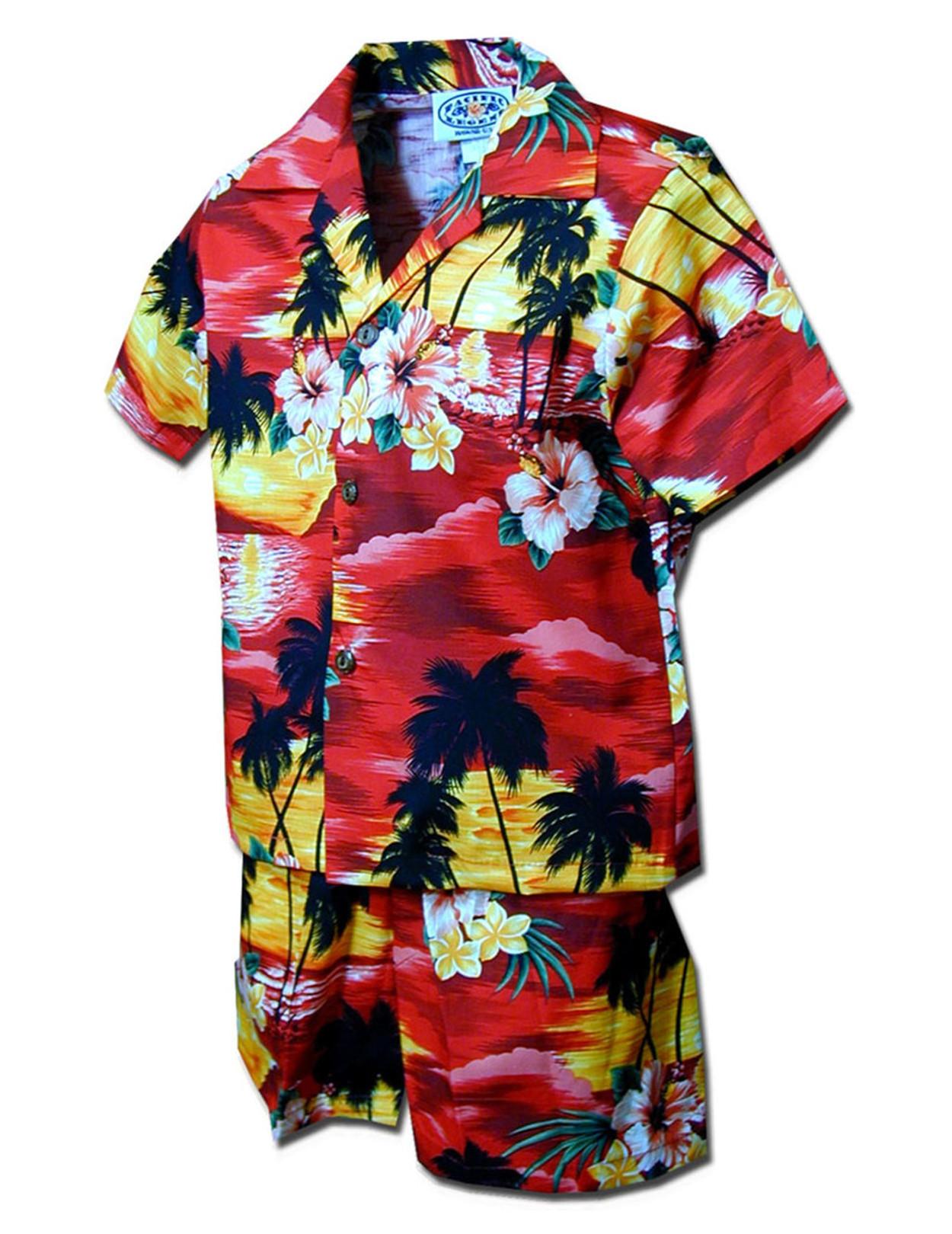 af7cea9dbfa4a Toddler Clothes Set Sunset Hawaiian Islands 100% Cotton Fabric Matching  Shorts and Shirt Set Coconut