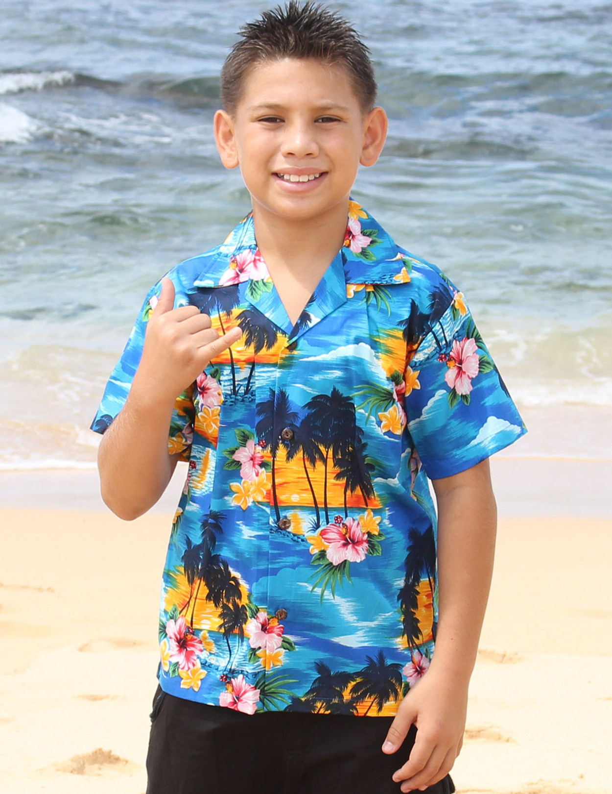 82b069d7 Hawaiian Sunset View Boy's Shirts 100% Cotton Coconut shell buttons Machine  Wash Cold Cool Iron