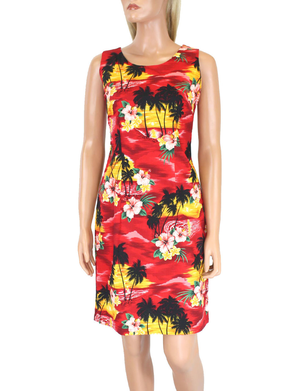 5bfff998d4a09 Hawaiian Short Island Sunset Tank Dress 100% Cotton Fabric Care  Machine  Wash Cold