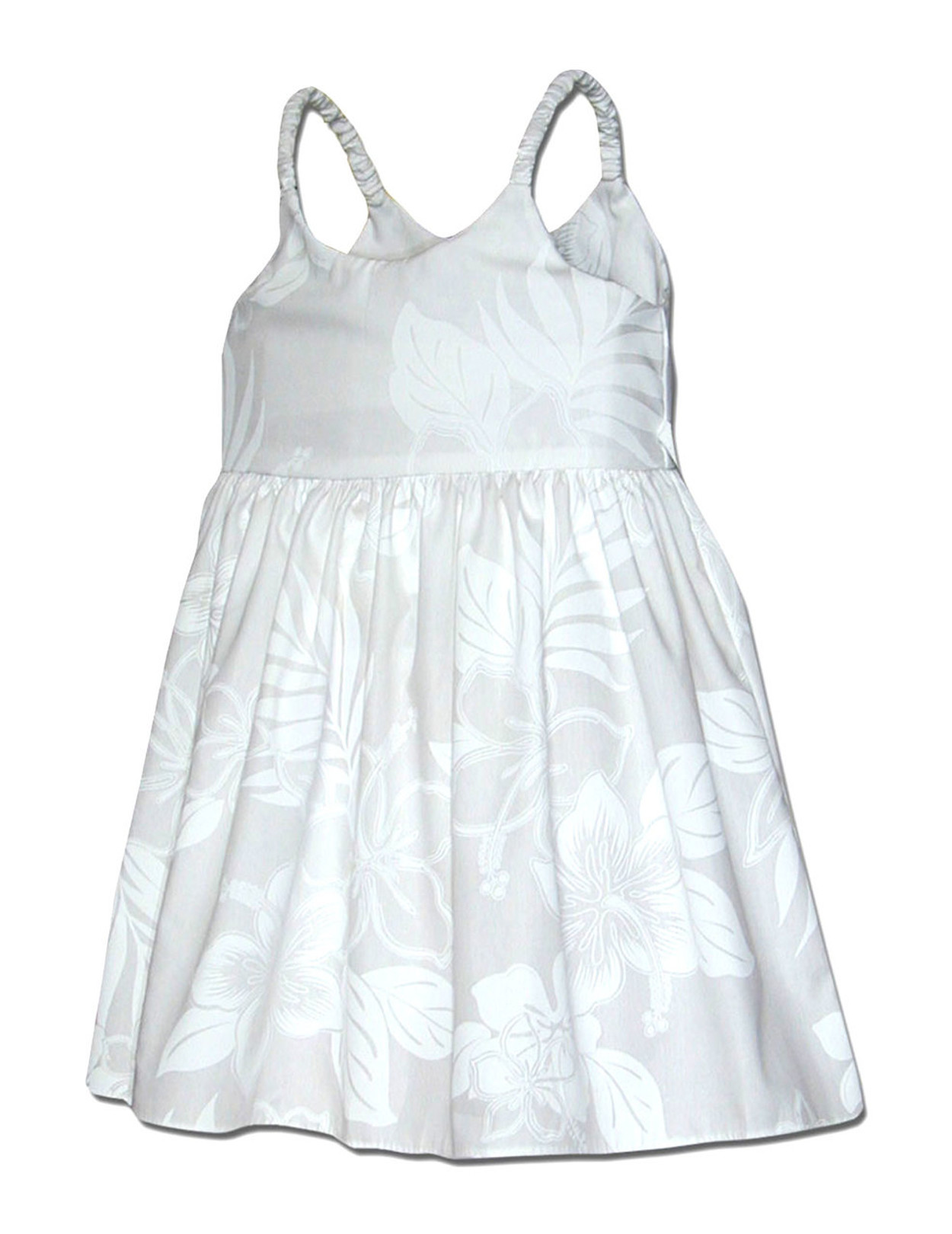 a9955eac1 Bungee Little Girls Hawaiian Dress La'ele 100% Cotton Fabric Color: White  Sizes