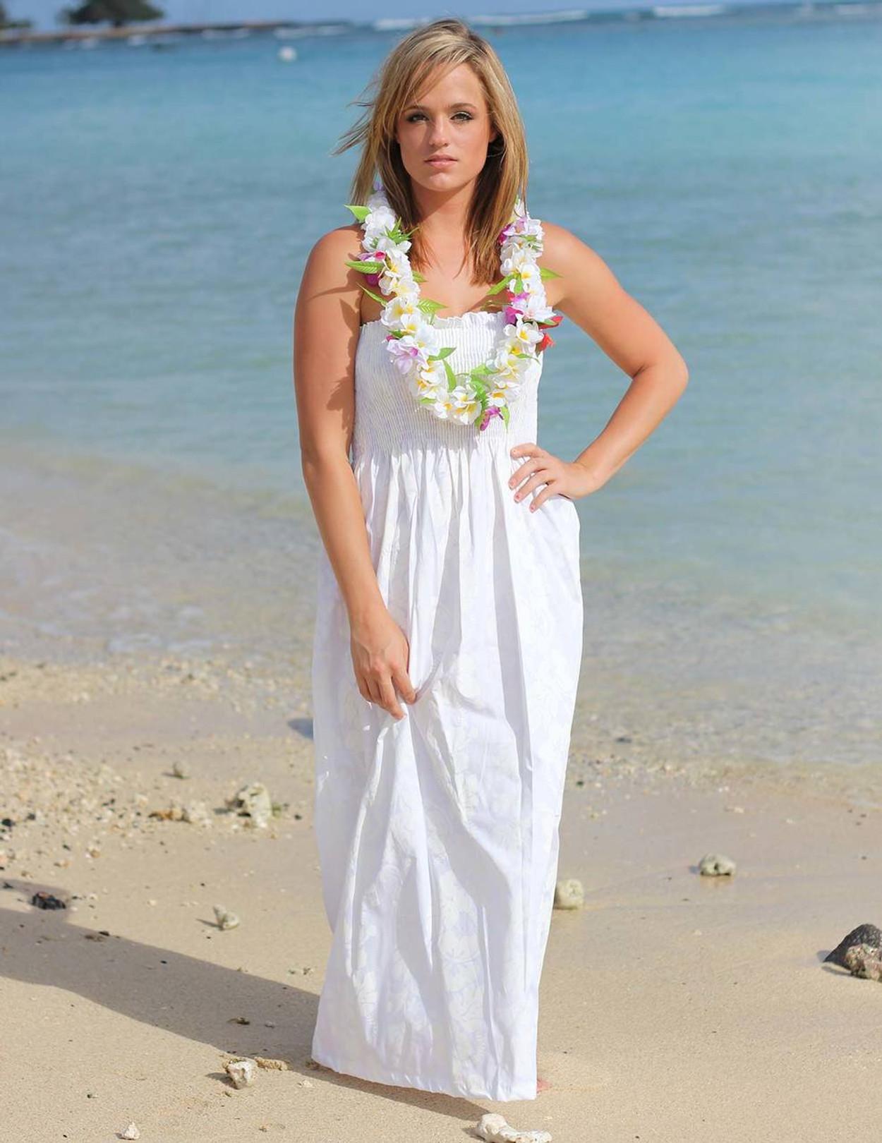 Smock Top Maxi Hawaiian Wedding Dress 100 Cotton Fabric Long Smocked Tube Tie: White Hawaiian Wedding Dresses At Reisefeber.org
