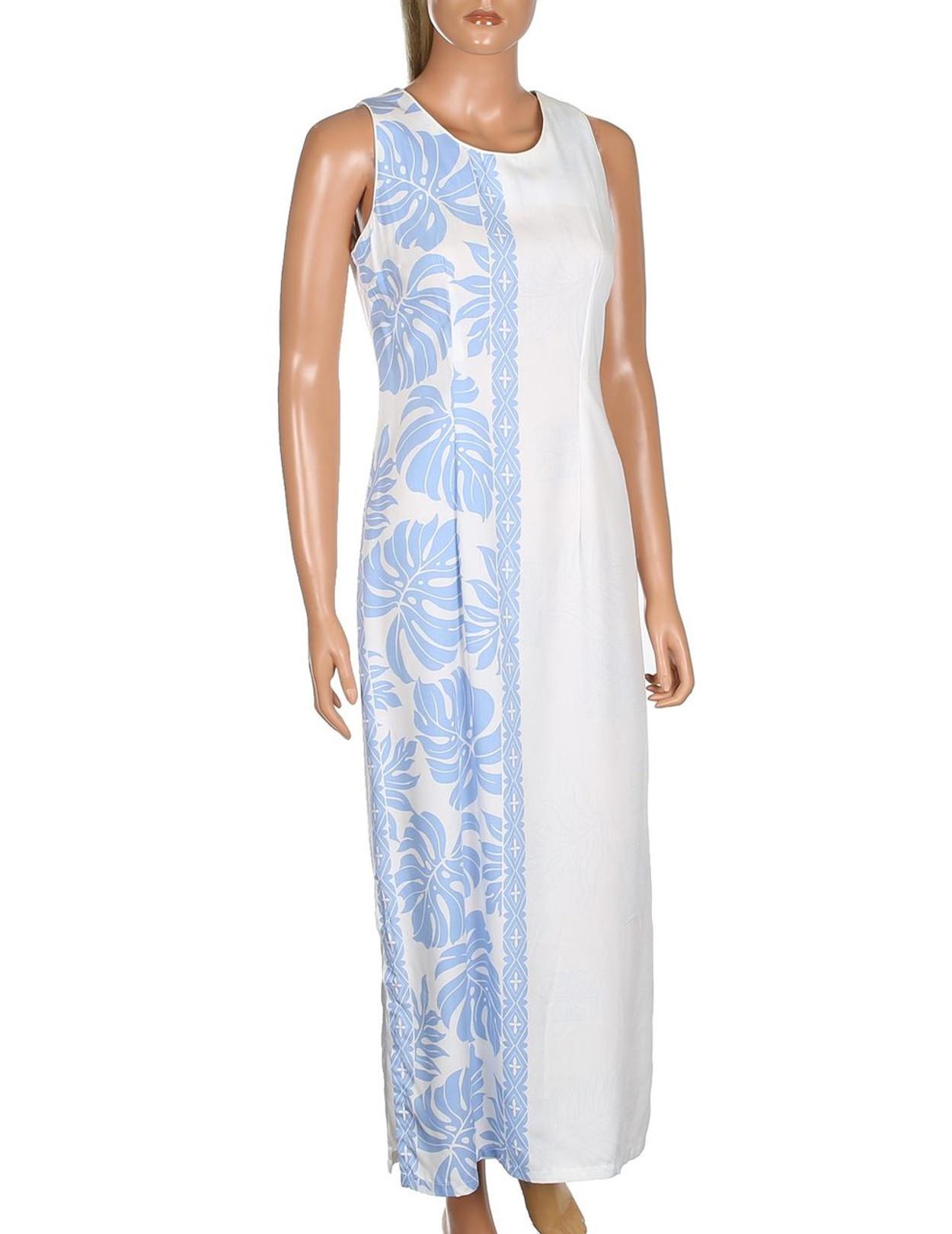 Prince Kuhio Design Long Hawaiian Wedding Dress Sleeveless