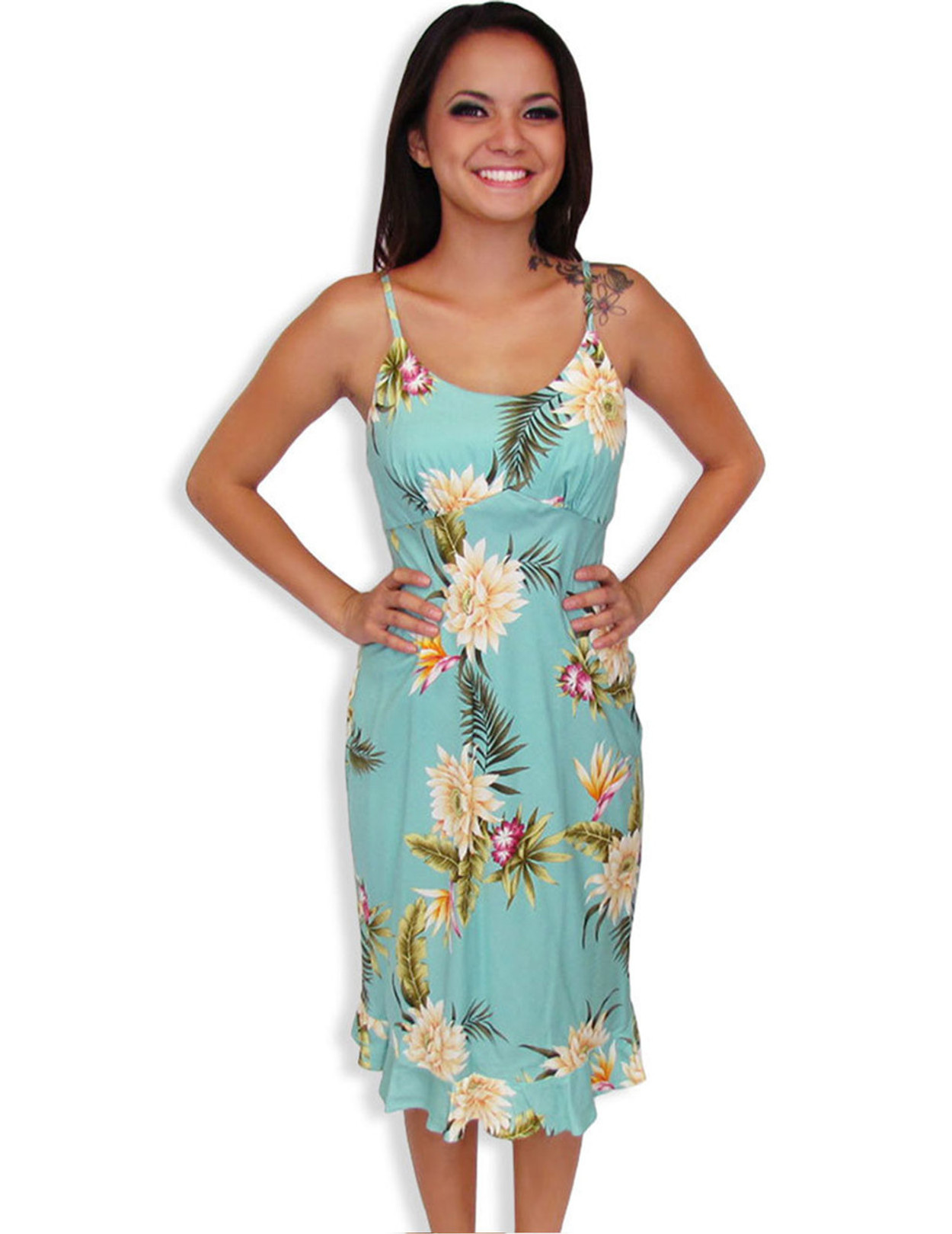 Midi Summer Spaghetti Hawaiian Dress Island Ceres - Hawaiian Wedding ...