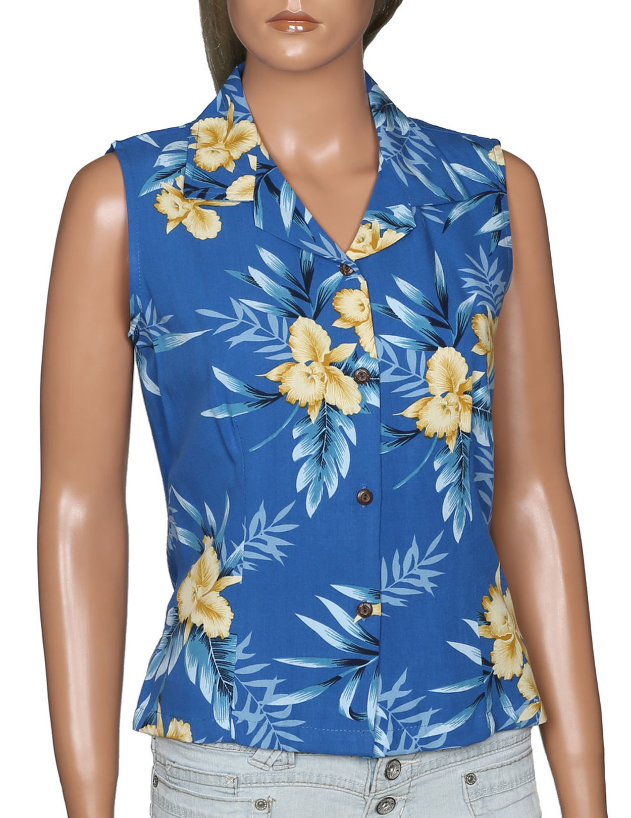 ad363586b0f5c Okalani Aloha Sleeveless Blouse - Hawaiian Wedding Place