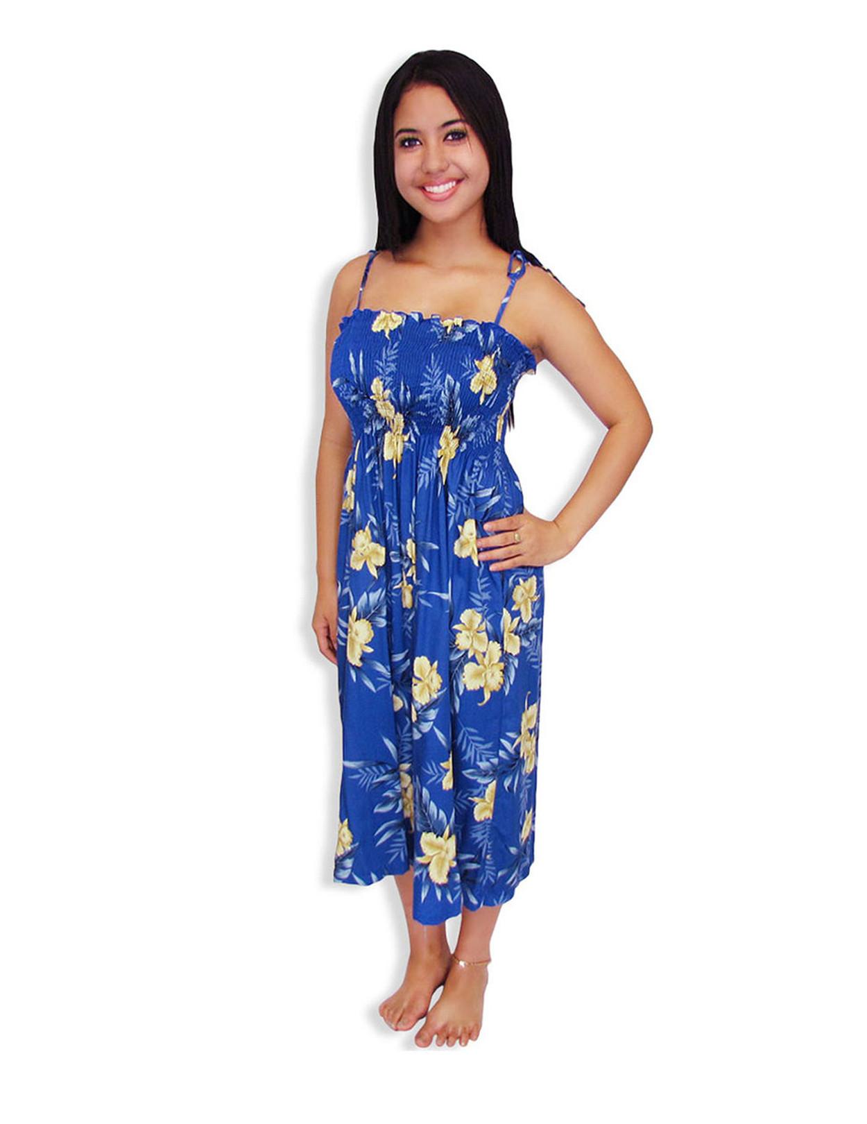 f1bcaf4749 Okalani Smock Rayon Hawaiian Dress 100% Rayon Fabric Smocked Tube Top  Design Tie On Shoulder