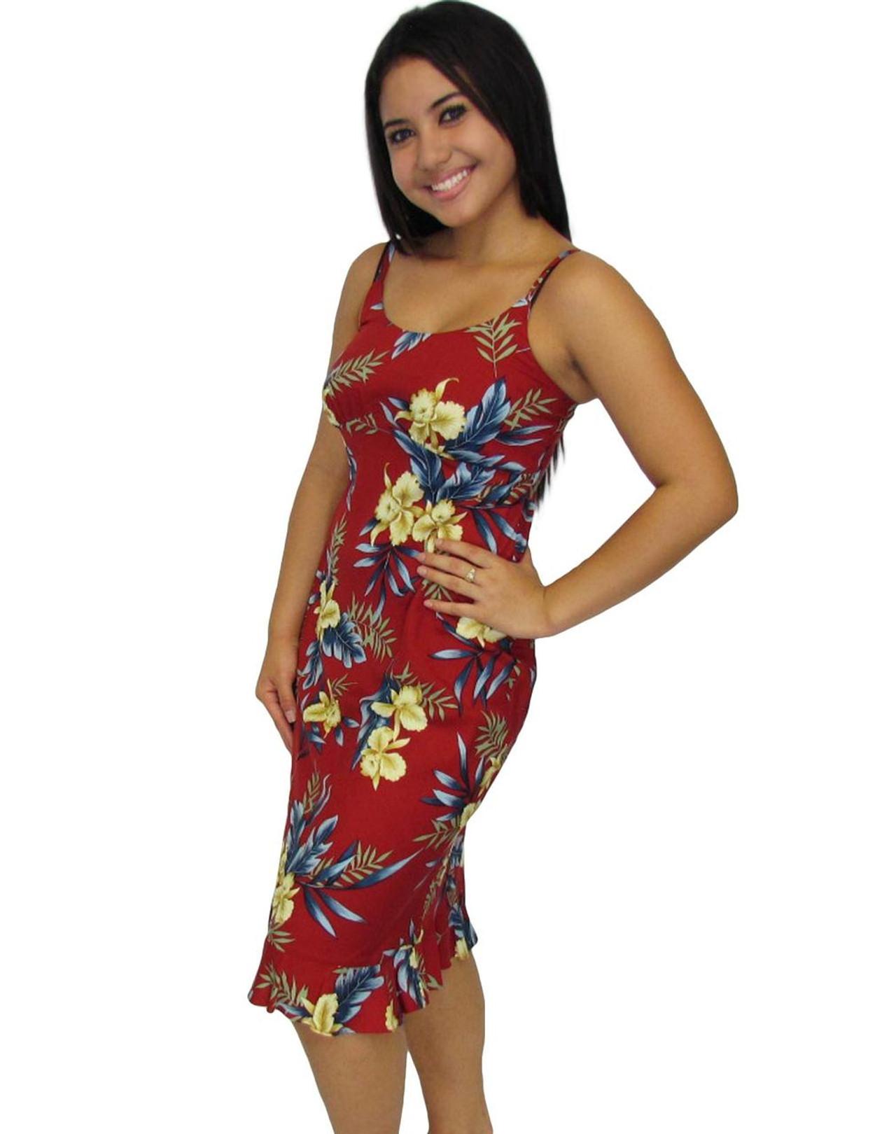 Okalani Mid Length Hawaiian Dress