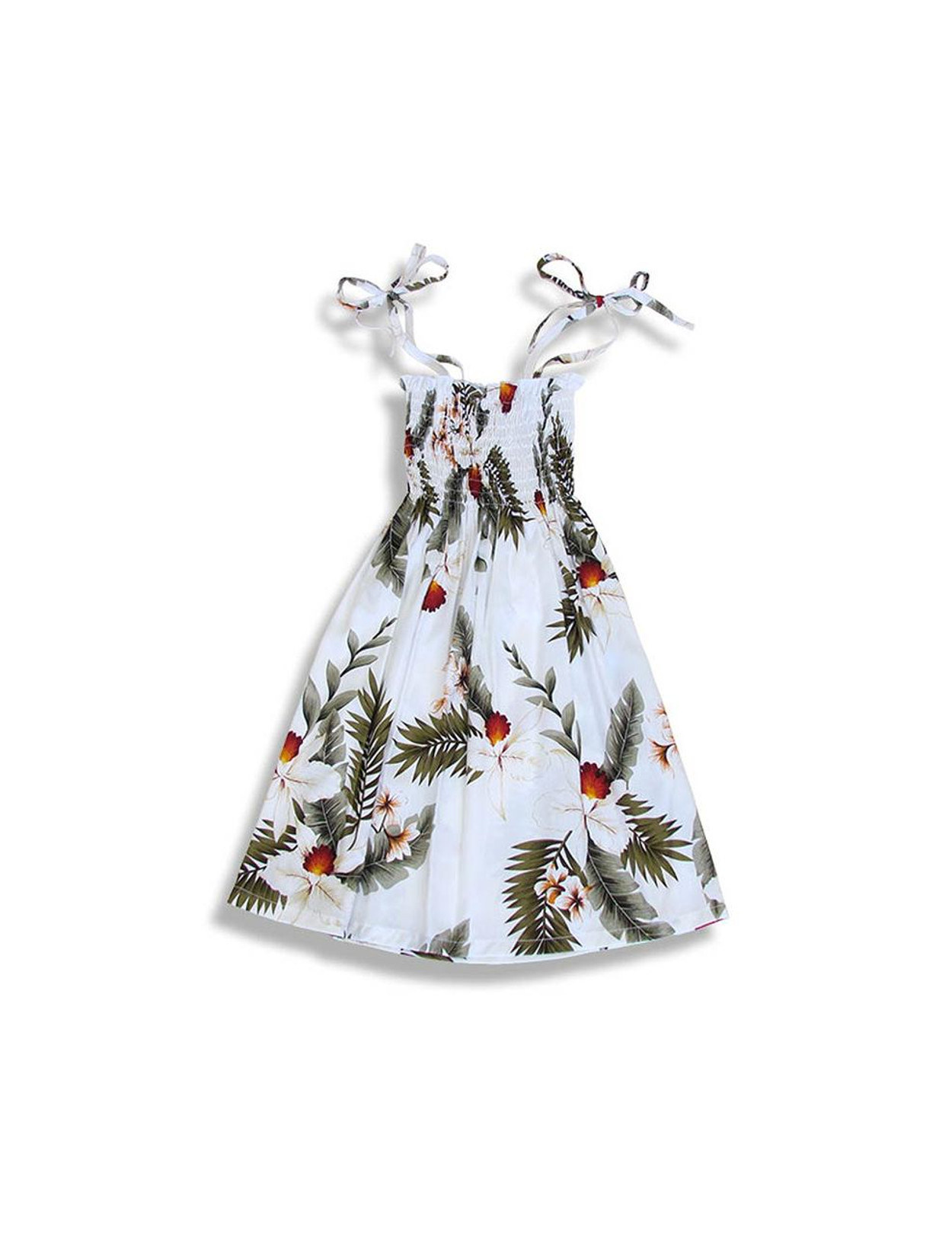 aa3b88ff832f Girl's Tube Top Hanapepe Dress with Orchids Smock Top with Straps 100% Rayon  Soft Fabric