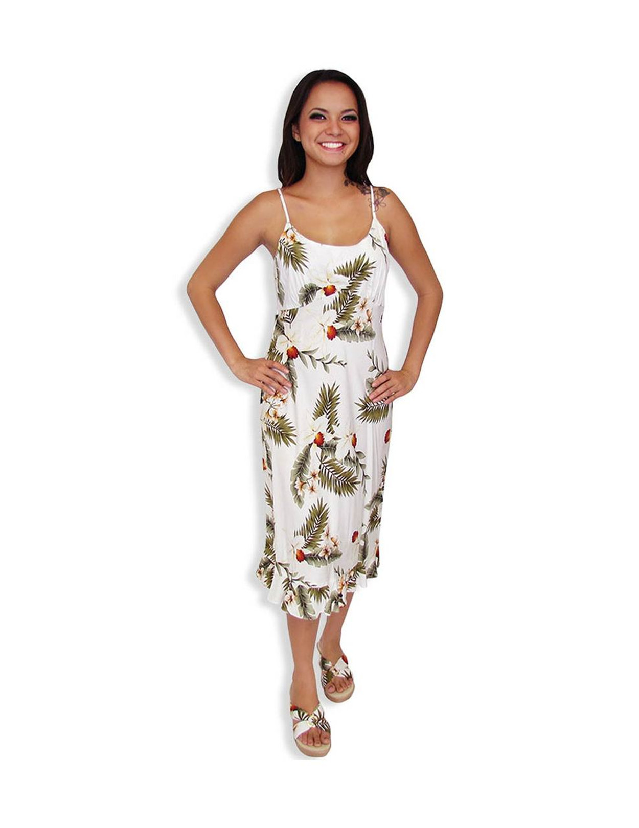 Spaghetti Mid Length White Hawaiian Dress Hanapepe