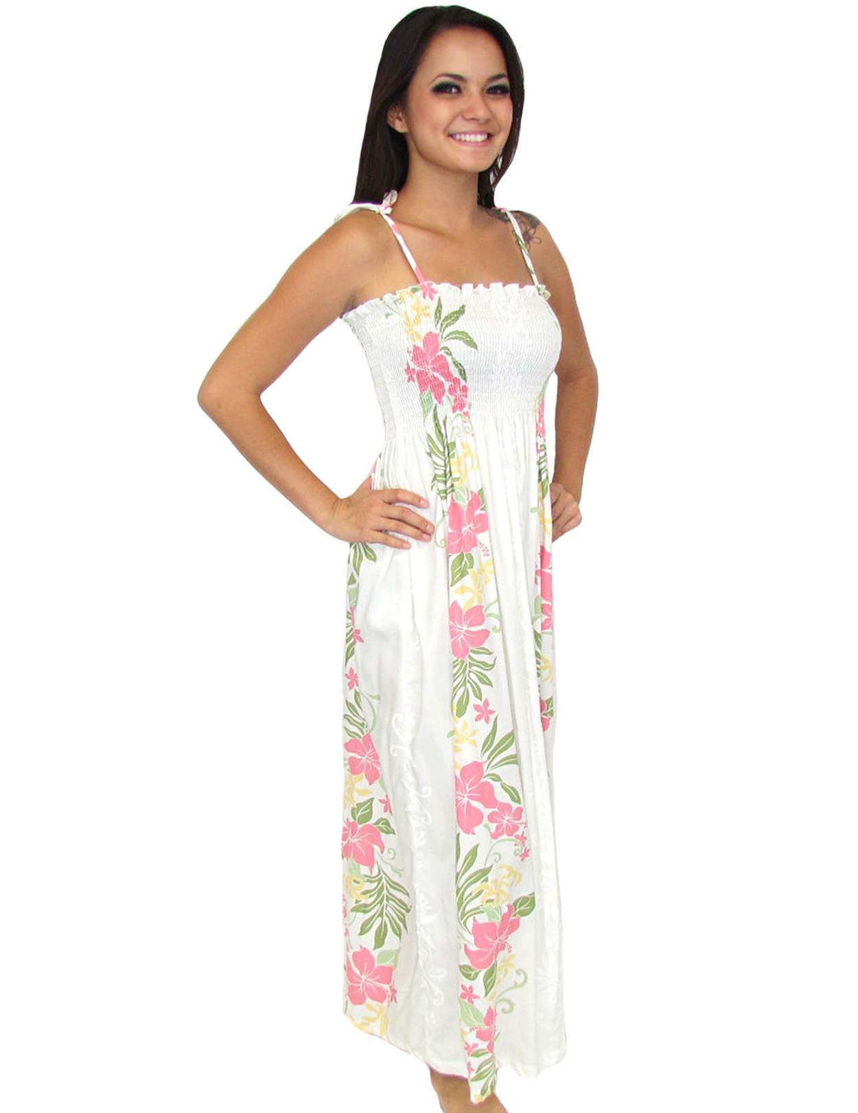 ba32f45424e4 Maxi Long Floral White Dress Lokelani Smock Tube Top 100% Rayon Fabric  Smocked Tube Top