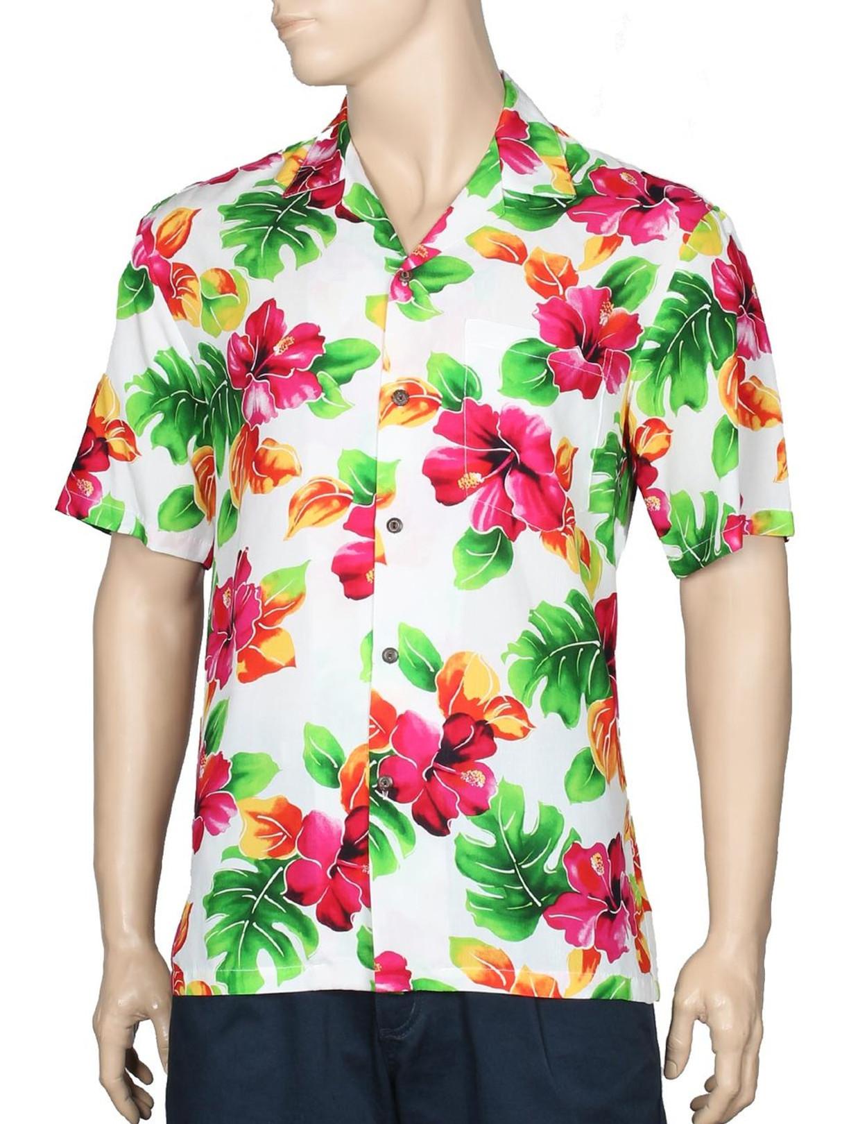 6527b20d36 Water Hibiscus Rayon Aloha Shirt
