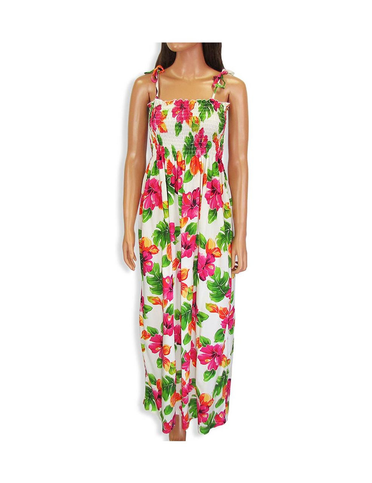 d4d7612a5976 Tropical Tube-Top Long Dress Water Hibiscus 100% Rayon Color: White Length: