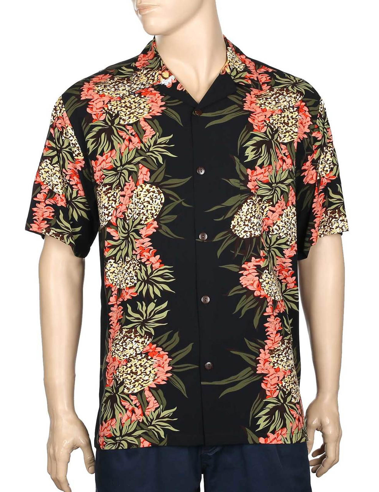 e18bfc46534 Pineapple Panel Hawaiian Shirt 100% Rayon Fabric - Soft and Classy Open  Collar - Relaxed