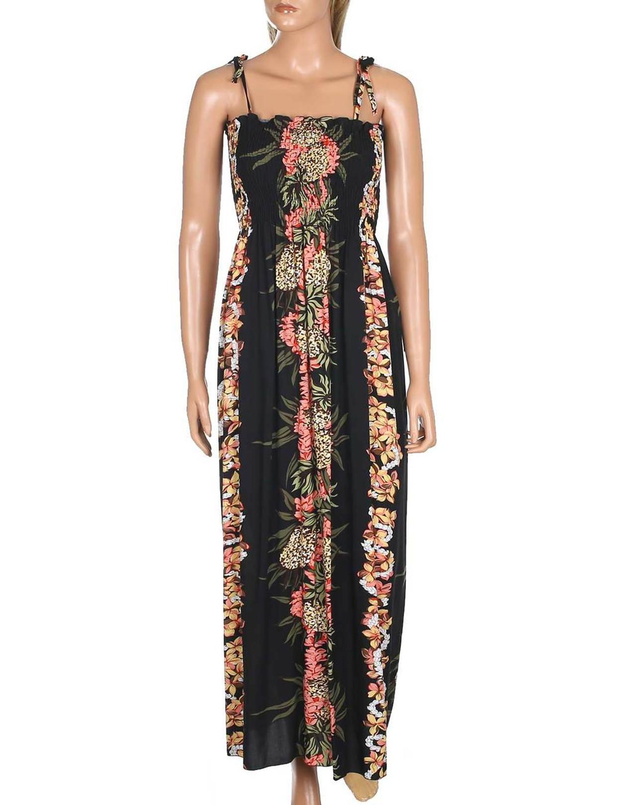 a1c0bf7aec Maxi Smock Dress Pineapple Panel 100% Rayon Fabric Long Maxi Smock Dress  Tie On Shoulder
