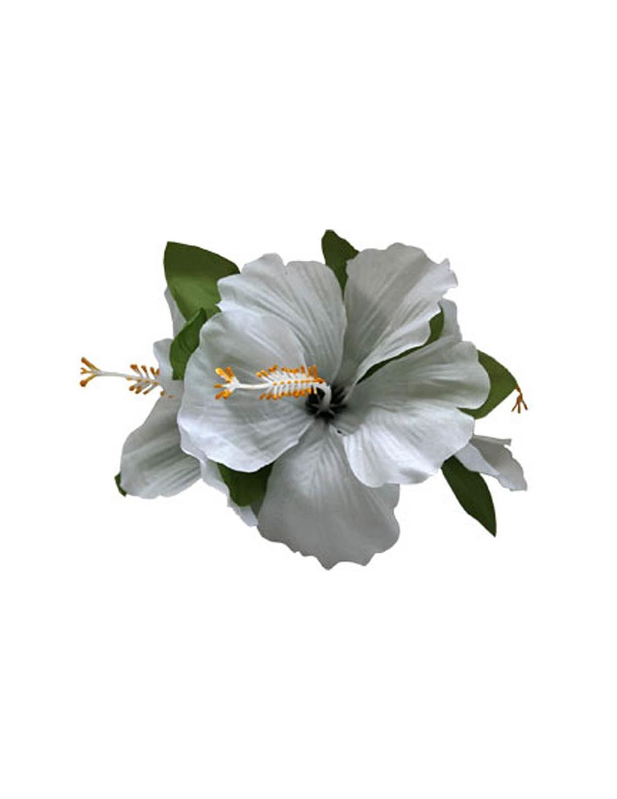 3 Silk White Hibiscus Flower Hair Clip Hawaiian Wedding Place