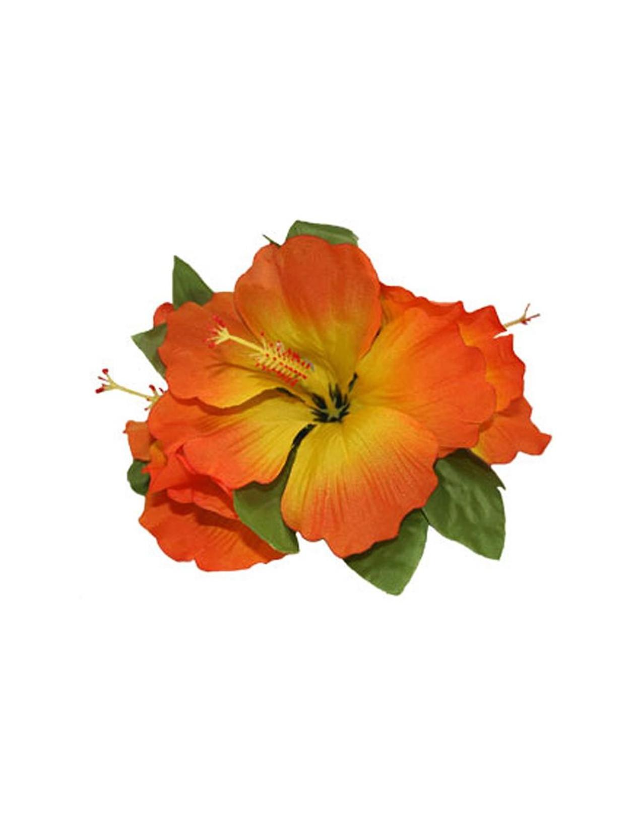 Hawaiian Orange Hibiscus 3 Cluster Silk Flower Hair Clip Hawaiian