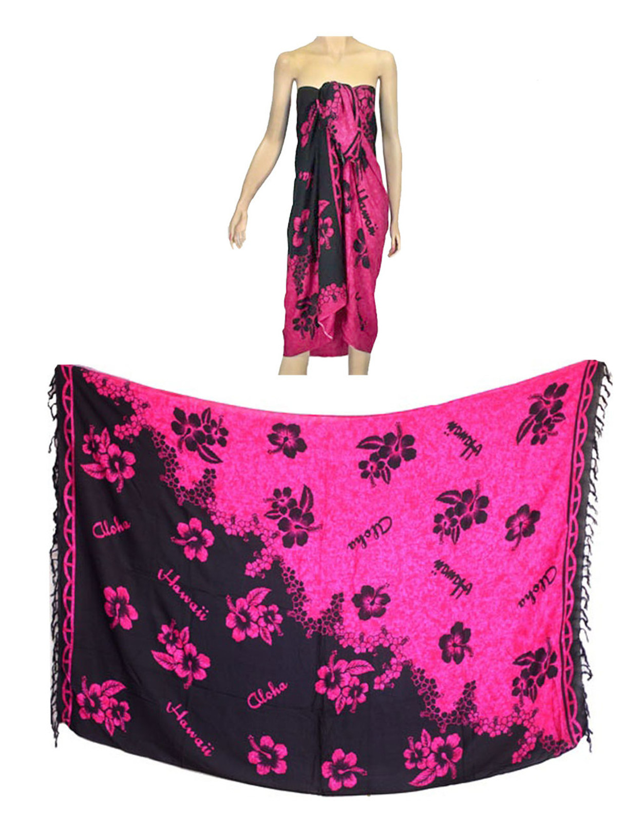b9dcda567a Sarong Pareo Cover Up Hibiscus Hot Pink 100% Soft Rayon Fabric Beach / Pool  Pareo