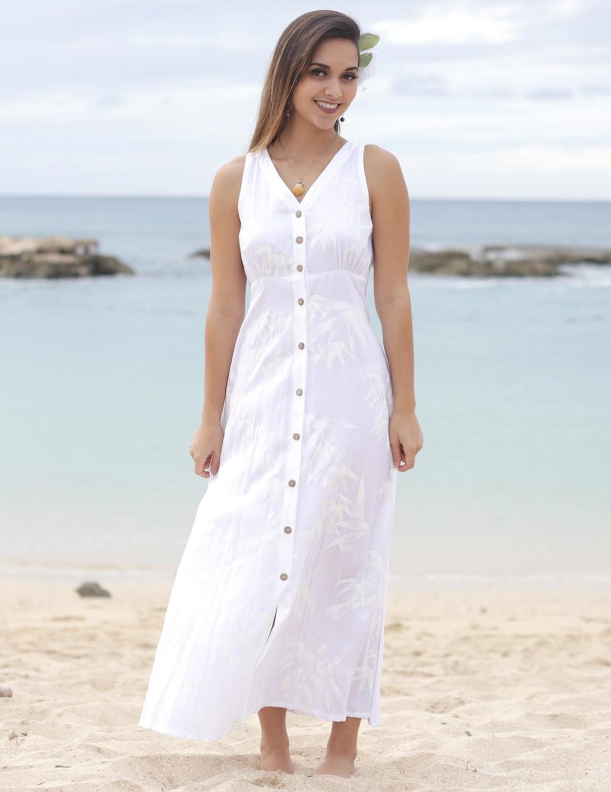 Maxi White Wedding Dress Bamboo Design - Hawaiian Wedding Place