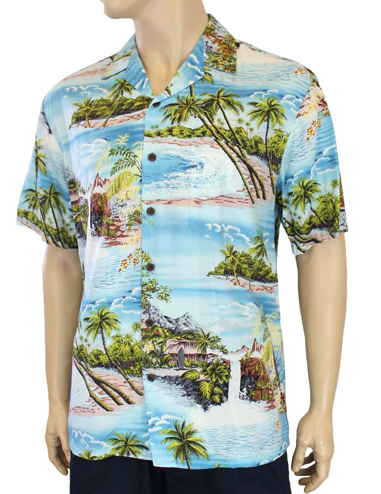 373832fb Island Paradise Men's Tropical Rayon Shirt 100% Rayon Fabric Open Pointed  Folded Collar Genuine Coconut