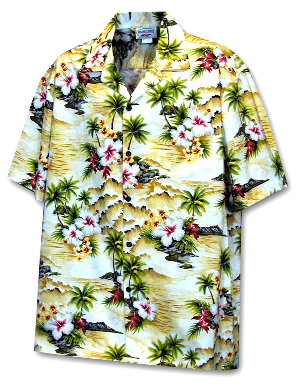 63e5d22990d Hookipa Hibiscus Flower Hawaiian Men's Shirt 100% Cotton Fabric Coconut  shell buttons Matching left pocket