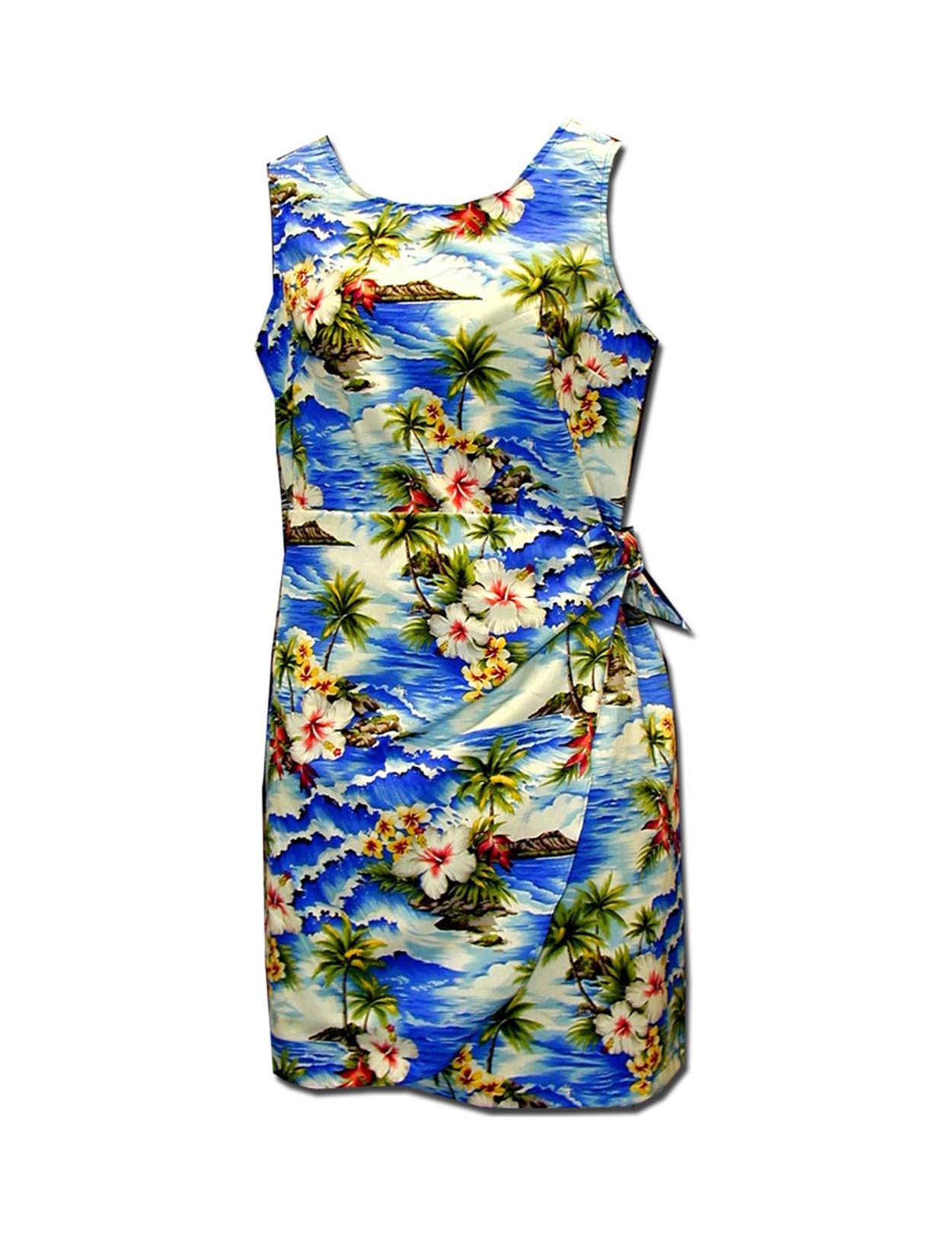 e66a213e1478 Hookipa Hibiscus Girls Aloha Sarong Dress 100% Cotton Fabric Tank Shoulder  Straps Adjustable Waist Sarong