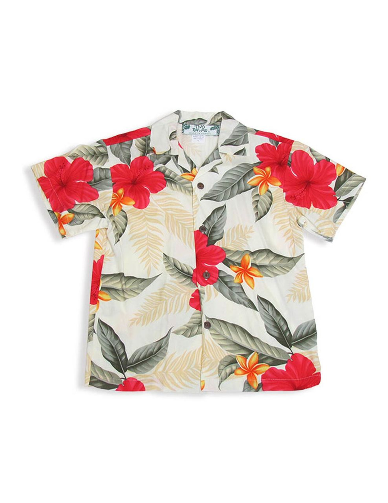 10e7d2464d Ula Ula Hibiscus Boy's Rayon Shirt Cream