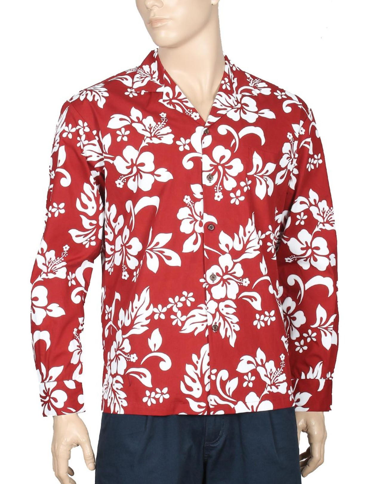 37195af3 Island Hibiscus Long Sleeve Aloha Shirt Red 100% Cotton Fabric Open Collar  Modern Fit Coconut