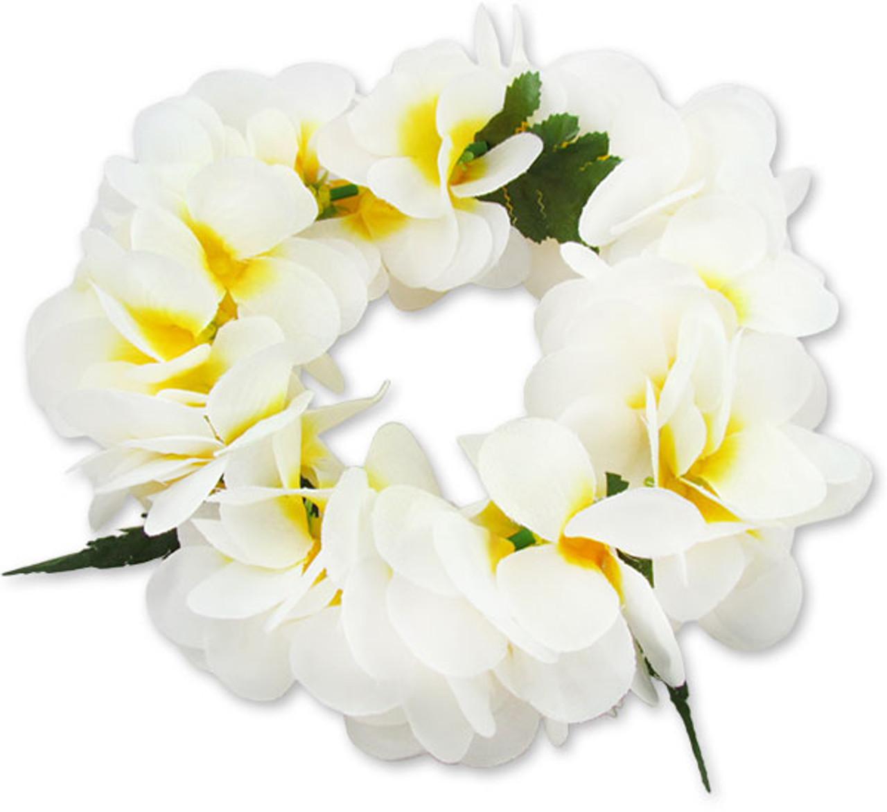 Natural Color White Plumeria Silk Flower Headband Hawaiian Wedding