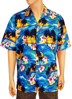Men Hawaii Island Sunset Shirt 100% Cotton Fabric Coconut Shell Buttons Matching Left Pocket Colors: Blue Sizes: S - 4XL Made in Hawaii - USA