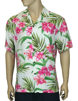 Aloha Shirt Rayon Orchid Galore 100% Rayon - Soft and Classy Open Collar - Relaxed Modern Fit Coconut shell buttons - Matching left pocket Colors: White Sizes: S - 3XL