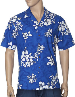 White Hibiscus Hawaii Aloha Shirt 100% Cotton Fabric Open Pointed Folded Collar Coconut shell buttons Seamless Matching Left Pocket Colors: Blue Sizes: S - 4XL Made in Hawaii - USA