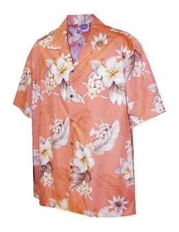 Lanai Design Hawaiian Cotton Shirt 100% Cotton Fabric Open Pointed Folded Collar Coconut shell buttons Seamless Matching Left Pocket Colors: Peach Sizes: S - 4XL Made in Hawaii - USA